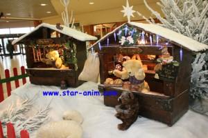 création d'automates, l'animation de vitrine, les décors de Noël